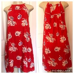Lucky Brand S Red Casual Summer Dress